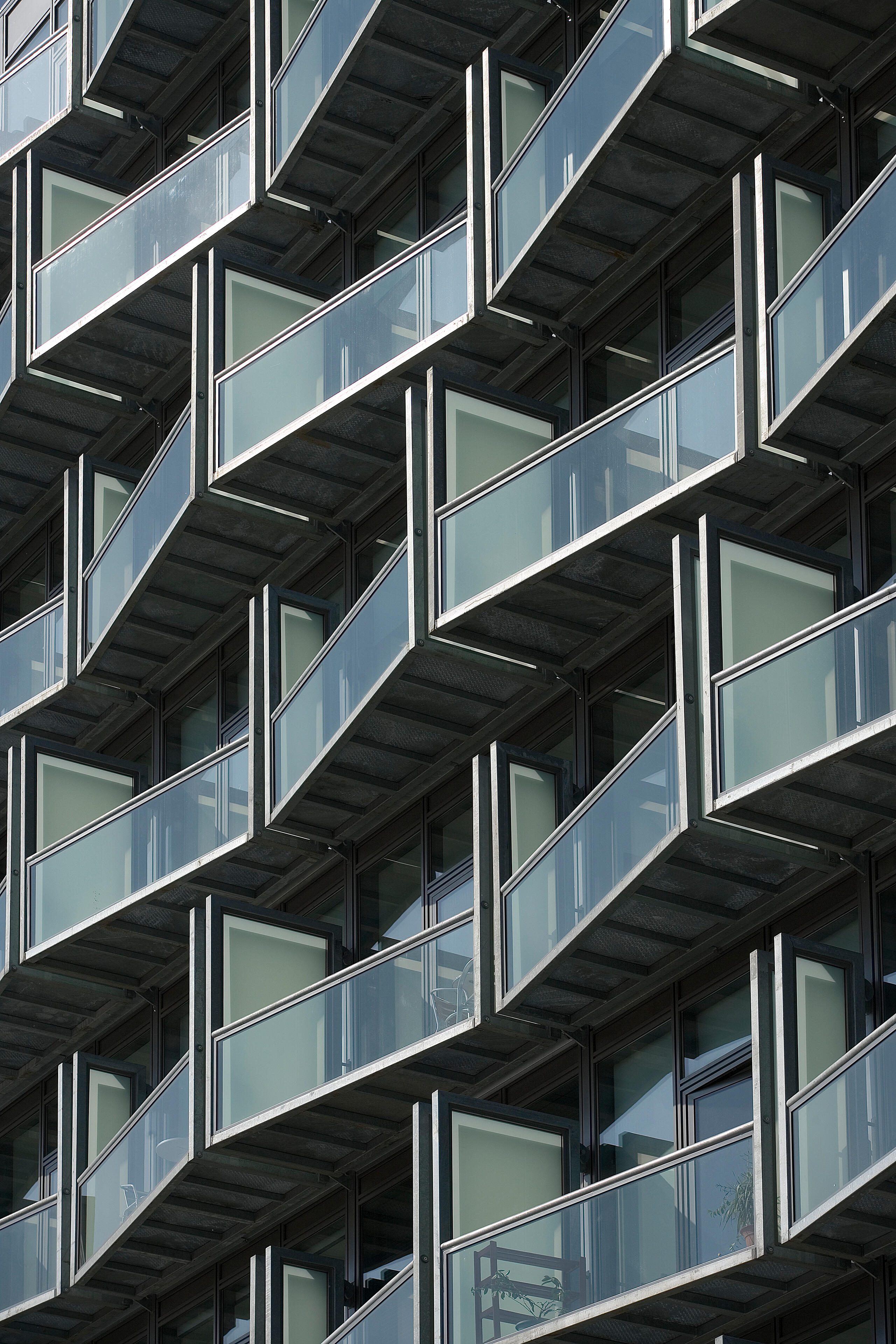 close up of balcony pattern of Abito Apartments showing how they appear to zig zag