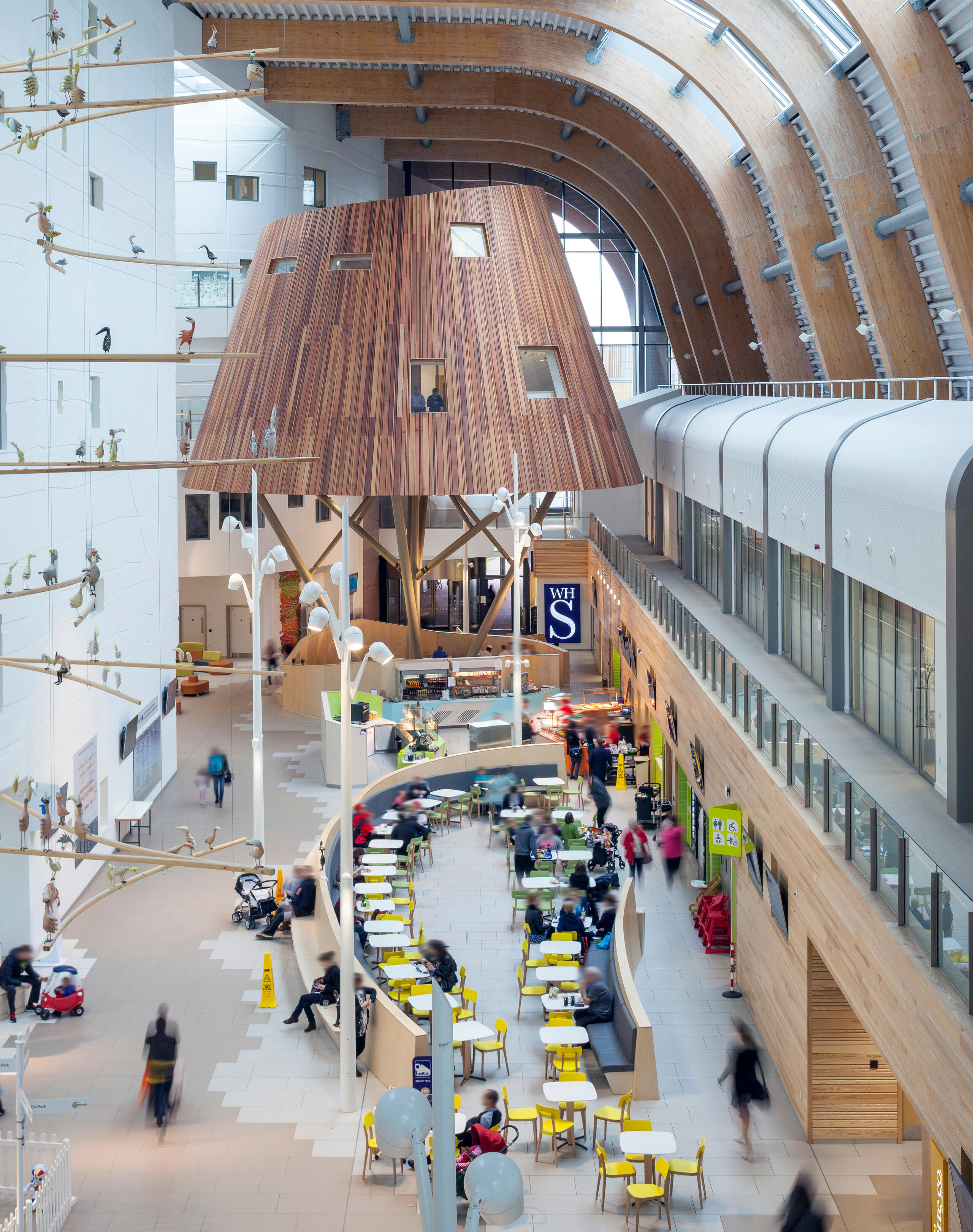 looking down at the lobby of Alder Hey Children's Health Park from a higher floor, showing cafe seating, wooden treehouse-like structure and an arched ceiling with wooden fins