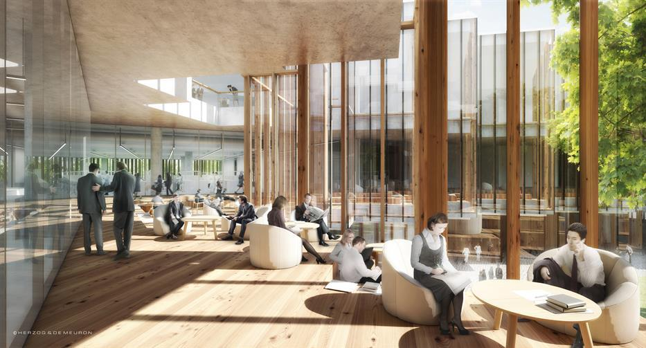 common area with wood floors and columns, floor to ceiling glazing, casual seating options