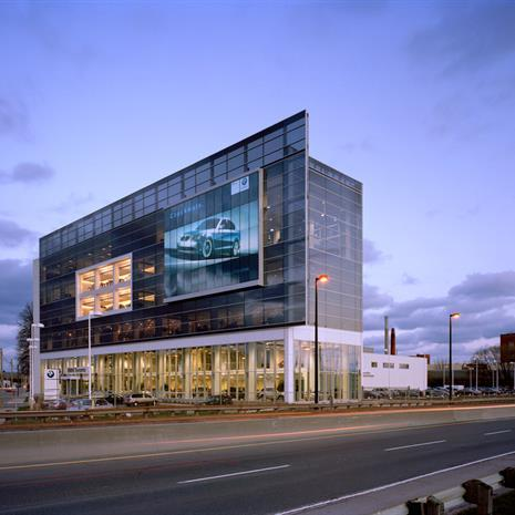 Façade of BMW Showroom and the Don Valley Parkway