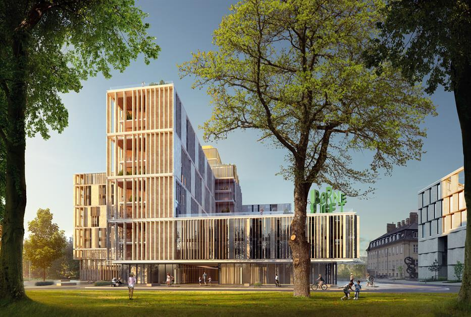 rendering of a modern hospital building with long podium and tower volume, with vertical baguette slats along the facade