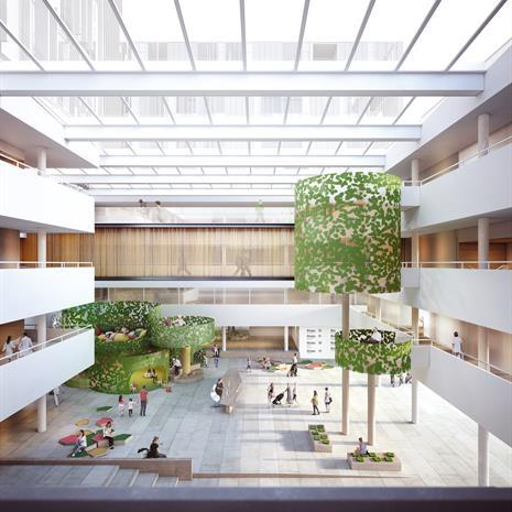 rendering inside a hospital atrium with skylight ceiling and tree like sculptural elements