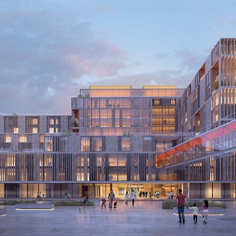 rendering of a modern hospital building with lots of glazing and vertical baguette fins covering the facade