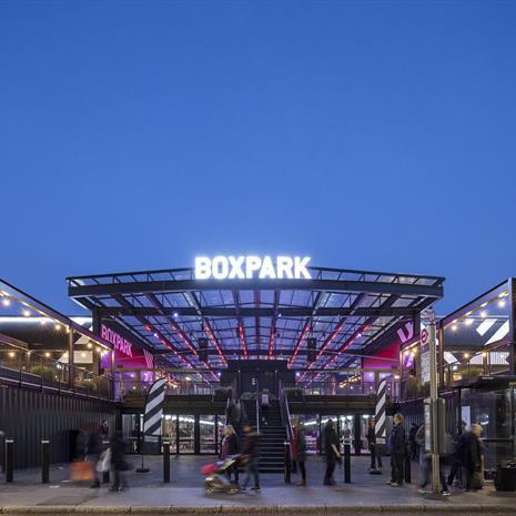 Boxpark open air retail market entrance
