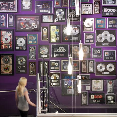 Interior wall showcasing awards.