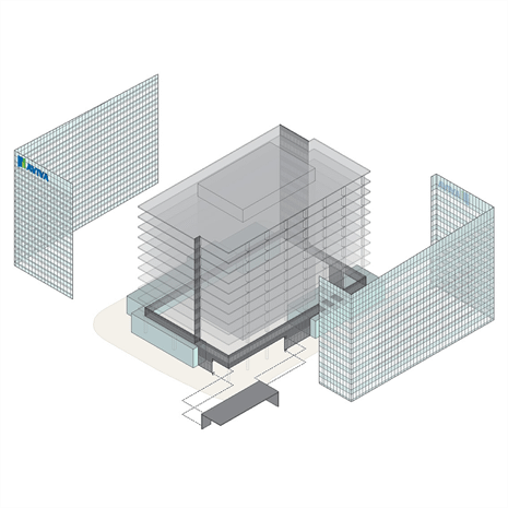 a BIM axo 3D rendered diagram showing the walls pulled away