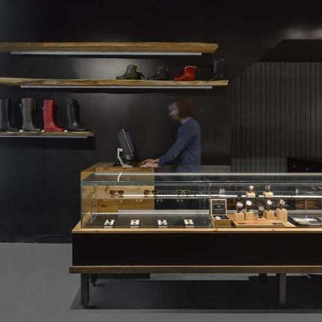 Jewellery display case and service counter.