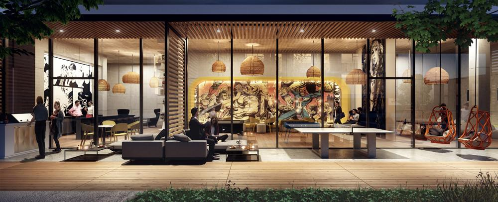 rendering of an interior and exterior amenity of a condominium building, with ping pong table, lounge seating, barbeque, slatted wooden ceiling and colourful wall mural