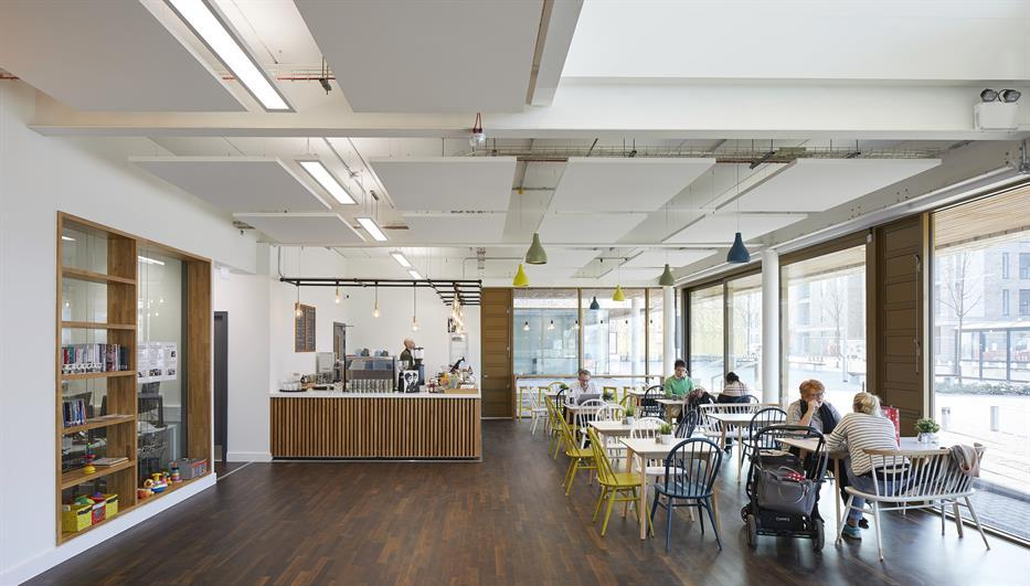 bright, spacious cafe with cherrywood floors and white walls and ceilings