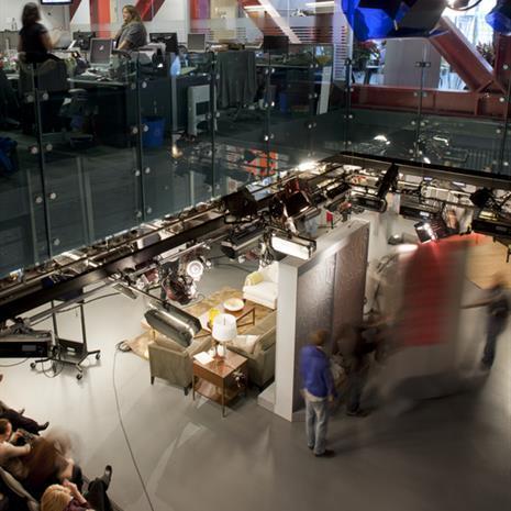Film set and studio audience.