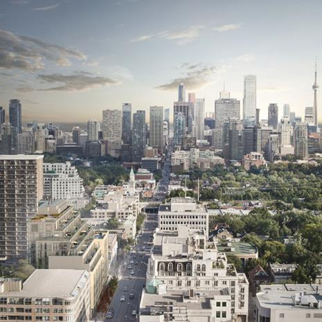 The streetscape of The Jack and the City of Toronto skyline from the West.