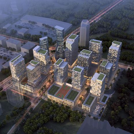 Aerial view of the Vaughan master plan community.