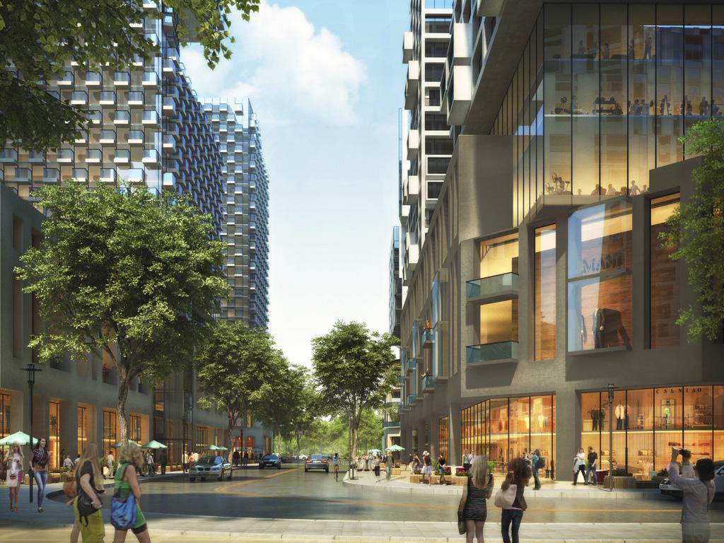Pedestrian and vehicle corridor along retail amenities.