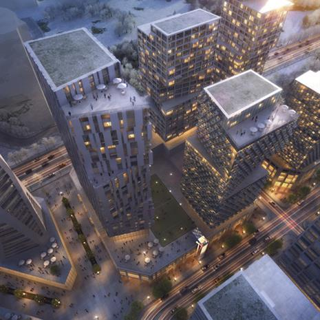 Aerial view of the central courtyard and residential towers.