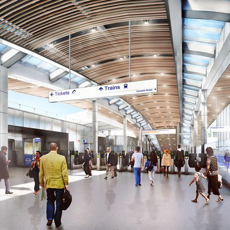rendering of people walking into a subway station with high ceilings, skylights and wooden ceiling features