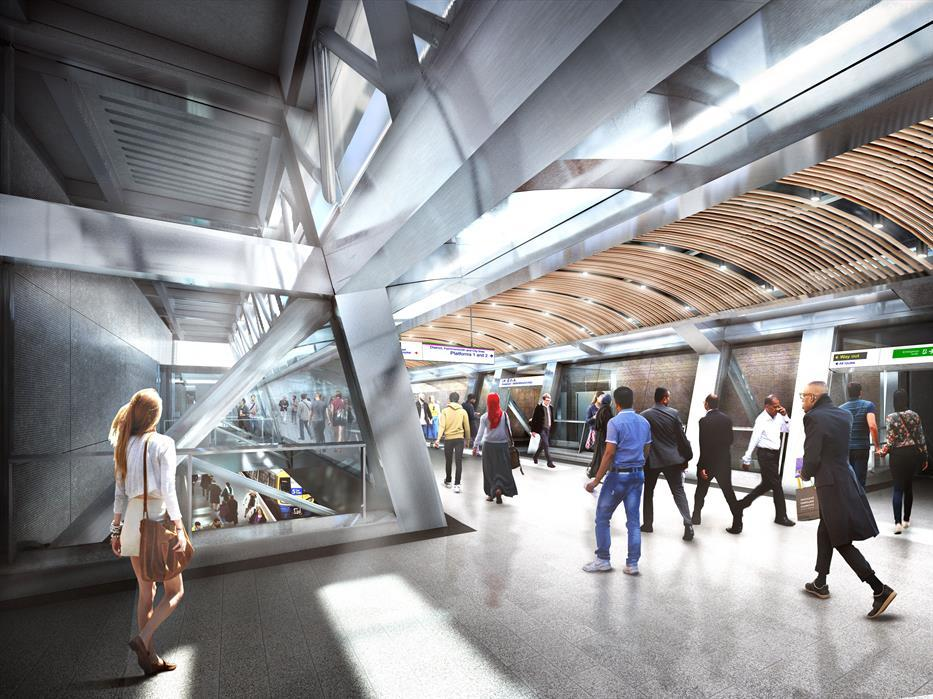 rendering of people walking through a transit station with curved wooden slat ceiling feature and lots of light coming in through skylights