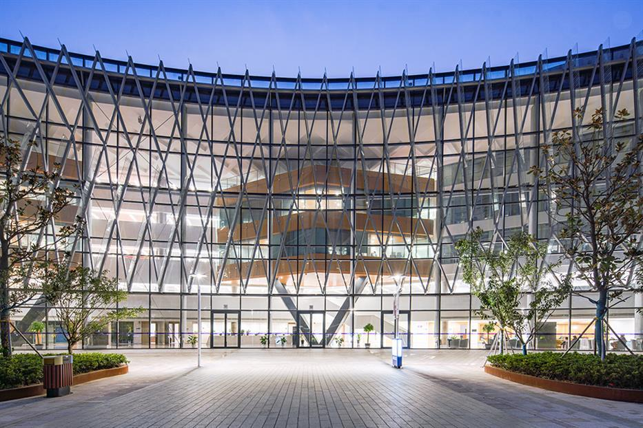 Xian Jiaotong Liverpool University, fully glazed facade with metal frit over top