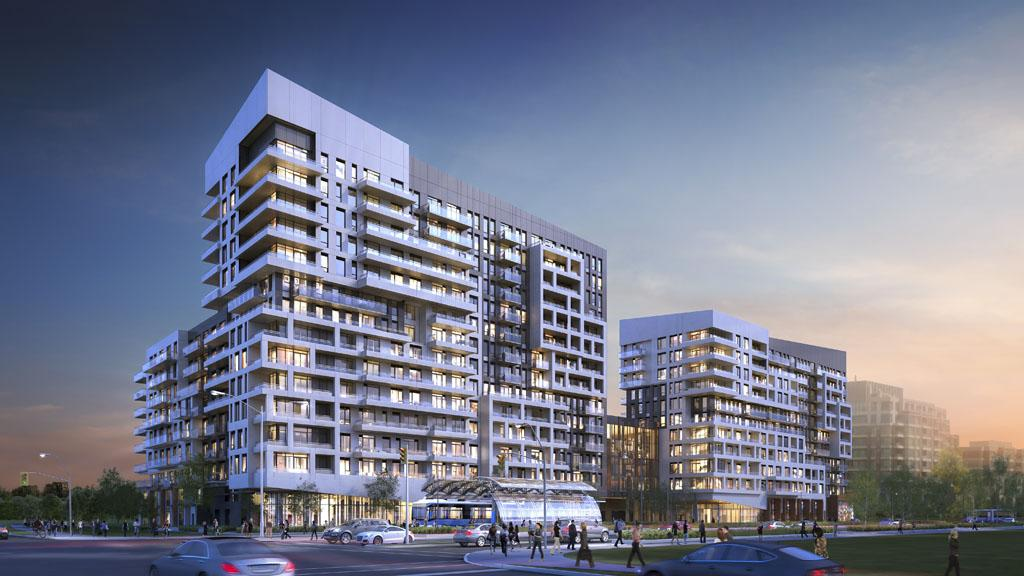 Dusk rendering of York Condos