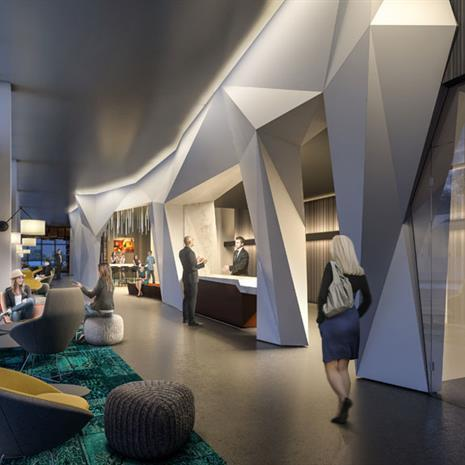 Interior lobby rendering of York Condos showing a white geometric sculptural element framing the reception desk