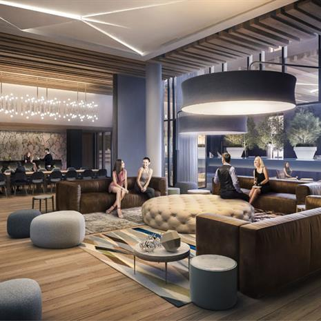 Interior rendering of lounge and dining amenity at York Condos